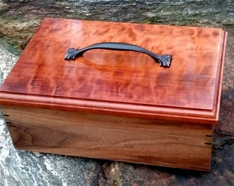Handcrafted Artistic Black Walnut & Curly Cherry Treasure Box Urn Artist Signed 198