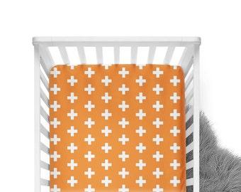 Fitted Crib Sheet Orange Plus Sign- Orange Crib Sheet- Plus Sign Crib Sheet- Orange Crib Bedding- Modern Baby Bedding- Orange Toddler Sheet