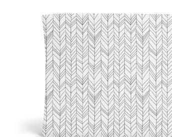 Changing Pad Cover Grey Herringbone - Grey Changing Pad Cover - Chevron Changing Pad Cover - Gender Neutral Changing Pad Cover - Organic