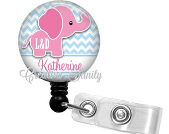 L&D Badge Holder, Personalized Pink Elephant Retractable ID Badge, NICU, Choice of Retractable Badge Reel,Carabiner,Lanyard or Steth ID Tag