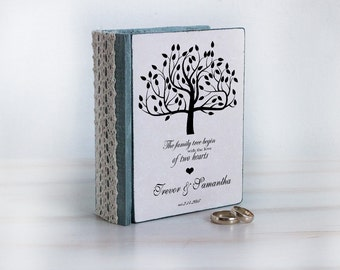 Rustic ring bearer box, Personalized ring box, Gray wedding box, Wedding ring box, Wedding tree box, Ring pillow Ring holder Engagement box