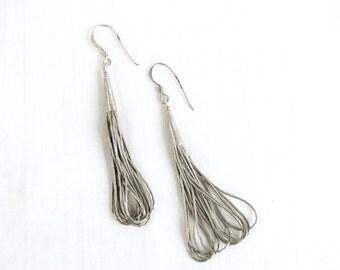 Liquid Silver Beaded Earrings Dangles Artisan Made Vintage Native American 10 Strands