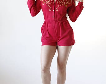 90s Red Gold Studded Romper Shorts Long Sleeve size Small - R1-29