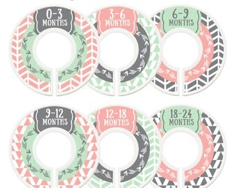 Closet Dividers, Baby Closet Dividers, Toddler, Days of Week, Closet Organizer, Arrows, Tribal, Woodland, Baby Shower Gift, Pink, Mint, Grey
