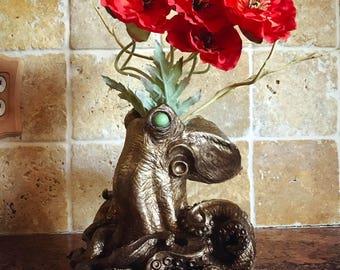 Kraken Vase, Steampunk Brass Finish