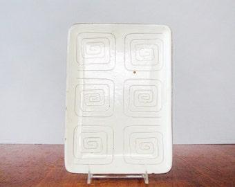 Mid Century LaGardo Tackett Studio Pottery Dish Incised Pattern Rectangle