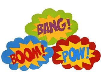 BANG,BOOM,POW pillow / cushion - Superhero sound effect - Speech bubble