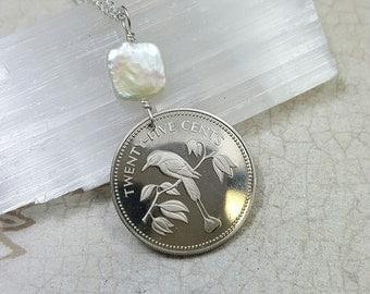 Bird Jewelry. 1974 BIRD COIN NECKLACE. Belize necklace. bird pendant. blue crowned motmot. pearl necklace. sparrow necklace. finch pendant