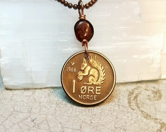 Squirrel Necklace. Coin Jewelry. Vintage 1966 SQUIRREL COIN. Garnet. Norway. coin necklace. squirrel and nut. squirrel jewelry. coin pendant
