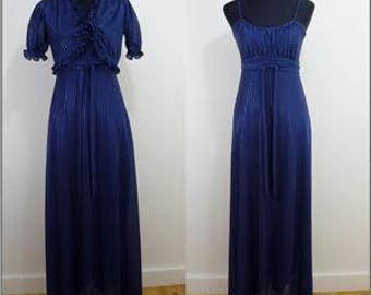 Elegant VINTAGE 1970s Retro Navy Blue Stripe Maxi Dress Jacket 10 38 Diva / Boho