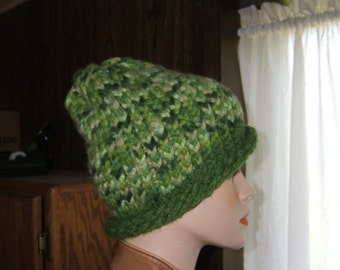 Green on green knit hat curled brim stocking cap recycled yarn upcycled materials grass olive avocado hunter forest fern watch cap toque