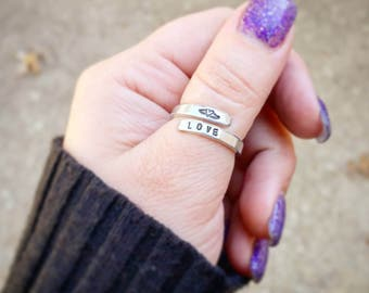 Thumb Ring - Personalized Ring - Gold, Silver or Rose Gold Ring - Wrap Around Ring - Custom Name Ring - Silver Ring - Gold Ring