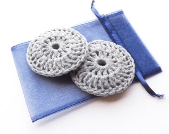 Grey Nylon Dish Scrubbies - Set of 2 through 8 - Crochet 4 Inch Pot Scrubber