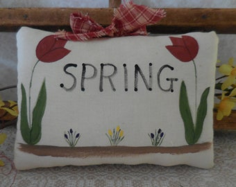 Primitive Spring Wall Hanging Sign Tulips Crocus Spring Pillow Tuck Decor