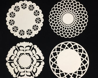 "Set of 4 Cardstock Doilies Solidcore, 65 lb. Cardstock, Pick a Color, Pick a Size, 3"" or 4"" Doily"