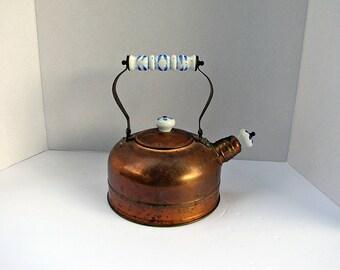 Vintage WHISTLiNG COPPER TEA KETTLE Blue White Ceramic Handles & Brass Trim Rustic Patina