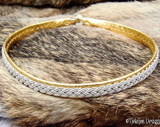 Gold Leather and Tin Braid Viking Necklace Choker Collar ASGARD Custom Handmade Traditional Swedish Sami Jewelry