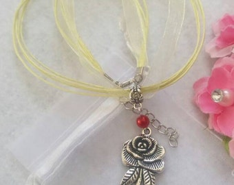 10 Rose Flower Necklaces Party Favors. Inspired by Princess Belle
