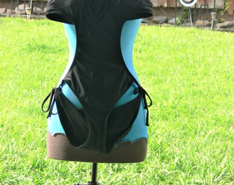 one pc black halther top bathing suit size bust 36