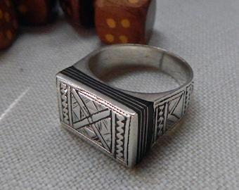 Vintage TUAREG Silver Ebony Wood Rectangle Ring; Traditional Geometric Tribal Symbols; Strong Classic Tribal Designs; Protection Evil Eye.