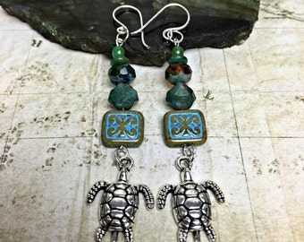Turtle Earrings - Turtle Jewelry, Turtles, Turtle Jewelry, Reptile Lover, Turtle Gifts, Slowpoke, Turtle Island, Mother Earth, Natural Gifts