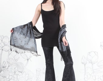 Black Velvet Bell Bottoms- crushed Velvet - highwaisted bell bottom by carousel ink womens pants bottom