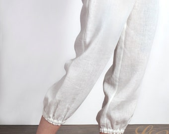 Linen Cropped Pajamas Trousers