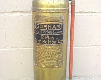 Fire Extinguisher BRASS Industrial Chic - Soda Acid - Gorham Fire Equip. Co. Boston Mass - Fire Engine - Firefighter Collectible