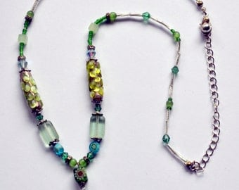 Beaded Y necklace - light green and turquoise
