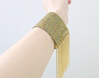Gold Tassel Cuff, Tassel Chain Bracelet, Thick Tassel Cuff, Thick Gold Cuff, Beaded Cuff, Gold Bracelet