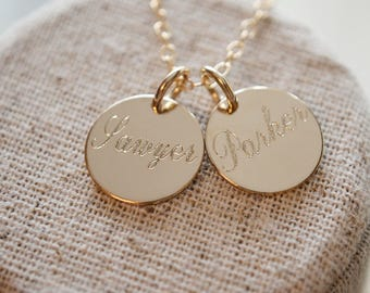 Engraved Name Necklace - Choose 1 2 3 4 discs - Silver Gold or Rose Gold Available Dainty Personalized Minimalist Jewelry