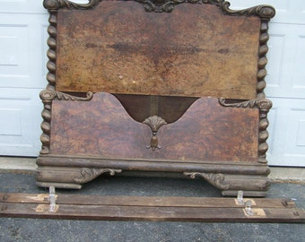 vintage french style hand carved wood bed, rococo style,headboard,footboard and side rails,hand crafted wood,vintage headboard,european bed
