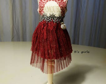 Blythe Party dress Layered lace & tiny Purse