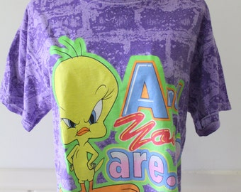 Vintage Looney Tunes Tweety And You Are? Graphic T-Shirt 1997