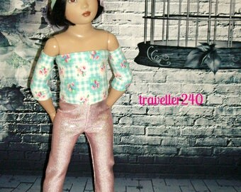 "Handmade for 14"" Helen Kish Chrysalis Dolls, ""Spring Flowers"" 6 Piece Outfit in Pink Blue Floral by traveller240, Top Skirt Pants Headband +"