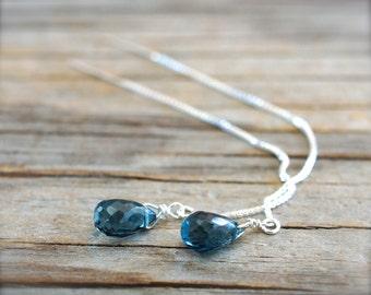 London blue topaz threader earrings. Blue gemstone bridal earrings. Ear thread blue topaz briolette earrings Thread earrings - MADE TO ORDER