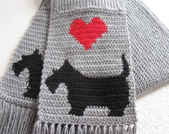 Scottish Terrier Scarf. Gray, crochet and knit scarf with black Scotty dogs and red hearts.