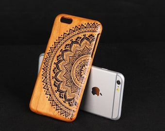 Cherry Wood iPhone 6 plus case Black Lace Flower iPhone 6P cover - NW6P003
