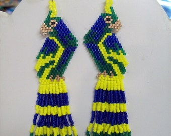 Hand Beaded Beautiful Macaw Parrot Earrings in Blue Green and Yellow Brick Stitch, Peyote, Southwestern, Boho, Hippie, Tropical Great Gift