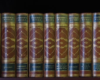 The Works of William Makepeace Thackeray in Twelve Volumes~1876.  Fine Leather, Marbled. Gilt decorated