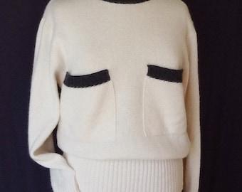 Salvatore Ferragamo sweater vintage pullover white charcoal angora wool M