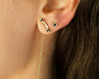 14K Gold Earrings - Solid Gold Threader Earrings - Thin Chain Earrings - Black Diamonds Long Gold Earrings - Minimalist Gold Chain Earrings