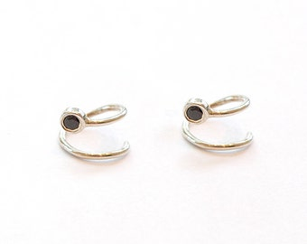 Sterling Silver Double Hoop Loop Earrings - Black Zircon Silver Earrings - Piercing Hoops - Unique Silver Hoops - 925 Sterling Silver Hoops