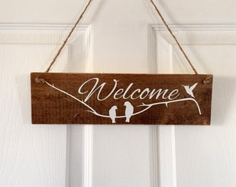Welcome Sign, Birds And Branches, Wood Door Sign, Hand Painted Sign, Welcome Farmhouse Decor, Rustic Sign, Front Door Decor, Door Sign 22602