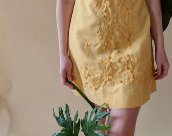1960s Golden Yellow Dress with Embroidery Made in Philippines? Medium