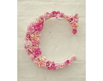 Personalised Nursery Art, Flower Letter, Pink Flowers Wall Art, Nursery Initial Monogram, Floral Nursery Decor, Girl's Bedroom, Gift for Her