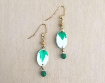 Green Classic Clay Charm Dangle Earrings
