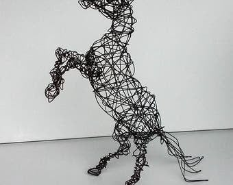 Unique Wire Horse Sculpture -REARING PONY- Free USA Shipping