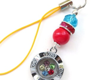 RADIANT CHARM- Beaded Zipper Pull- Phones, Handbags, Backpack Decoration- Crystal Spinner Charm, Crystal, and Pearl Bead with Silver Accents
