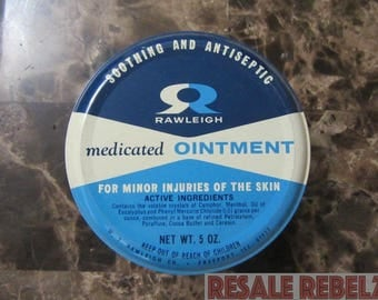 Vintage 1940s W.T. Rawleigh Medicated Ointment Tin Can, Freeport, Illinois